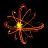 Olśniewający neonowych świateł atomu model Krzyżujący okręgu światła pociągu skutek Rozjarzona atom struktura z magia ogienia pie Zdjęcia Royalty Free