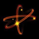 Olśniewający neonowych świateł atomu model Złoto krzyżujący okręgu światła pociągu skutek Fotografia Stock