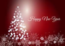 Olśniewający nowego roku drzewo na czerwonym backround Obraz Stock