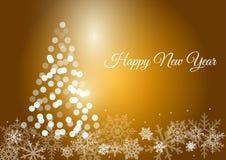 Olśniewający nowego roku drzewo na złocistym backround Zdjęcia Stock