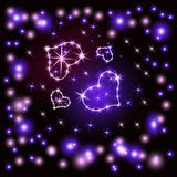 Olśniewający serca Retro neonowego znaka fiołek na ciemnym tle Przygotowywający dla twój projekta, kartka z pozdrowieniami, sztan ilustracja wektor
