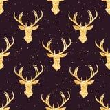Olśniewający złoty reniferowy bezszwowy wektoru wzór Zdjęcia Royalty Free