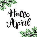 Ol?! abril entregue tirado rotulando a frase isolada no fundo branco ilustração royalty free