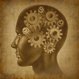 Ol antigo do grunge da mente da função do cérebro da inteligência Fotos de Stock