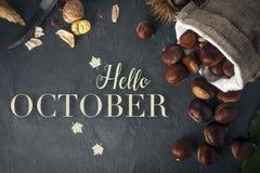 Ol?! cart?o de outubro Castanhas Roasted em uma tabela da rocha imagens de stock royalty free