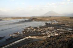 Ol Doinyo Lengai wulkan i jezioro natron, Wielki rift valley, Tanzania, Wschodni Afryka Obraz Royalty Free