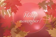 Olá! fundo de novembro Fotografia de Stock Royalty Free
