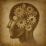 Ol grunge antique d'esprit de fonction de cerveau d'intelligence Photos stock