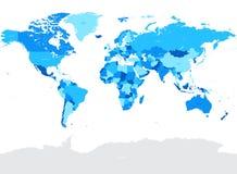Olá! ilustração política do mapa do mundo do vetor azul do detalhe Foto de Stock