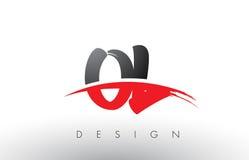 OL O L cepillo Logo Letters con el frente rojo y negro del cepillo de Swoosh Fotografía de archivo