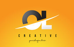 OL O L Letter Modern Logo Design with Yellow Background and Swoo. OL O L Letter Modern Logo Design with Swoosh Cutting the Middle Letters and Yellow Background Stock Image