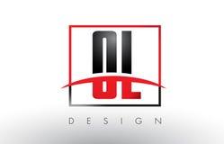 OL O L Logo Letters avec des couleurs et le bruissement rouges et noirs Photo libre de droits