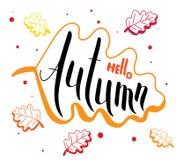 Olá! outono e cartão escrito à mão das folhas brilhantes Fotos de Stock Royalty Free