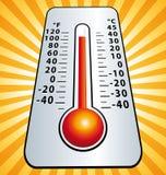 Ola de calor Ejemplo del termómetro de la temperatura máxima Fotos de archivo libres de regalías