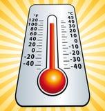 Ola de calor Ejemplo II del termómetro de la temperatura máxima Fotos de archivo