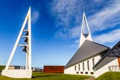 Olafsvikurkirkja white modern style triangular shape lutheran ch Royalty Free Stock Photography
