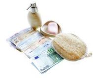 Olagliga kontanta euro för penningtvätt Royaltyfri Fotografi