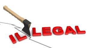 Olagligt blir lagligt royaltyfri illustrationer