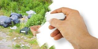 Olagligt dumpa med övergav flaskor, askar och plastpåsar i naturen - begreppsbild med handen som raderar vektor illustrationer