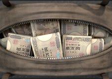 Olagligt kontant in en brun sjösäck stock illustrationer