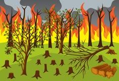 Olagligt logga och Forest Fires Vector Illustration royaltyfri illustrationer