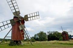 oland老瑞典风车 免版税库存图片