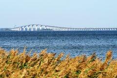 Oland bridge in sweden . The Oland Bridge is a road bridge connecting Kalmar on mainland Sweden to Faerjestaden on the island of oland stock images
