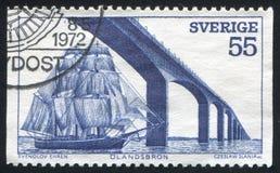 Oland Island Bridge. SWEDEN - CIRCA 1972: stamp printed by Sweden, shows Oland Island Bridge, circa 1972 royalty free stock images
