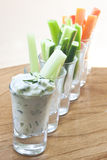 cucumber dip and vegetable sticks Stock Photography