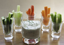 cucumber dip and vegetable sticks Royalty Free Stock Images