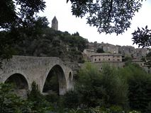 Olargues, a village in herault, languedoc, france stock photography