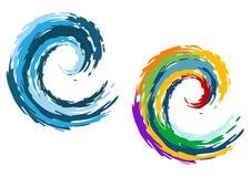 Olas oceánicas azules y coloridas stock de ilustración