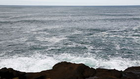 Olas oceánicas con Lava Rock Shore Depoe Bay Oregon almacen de video