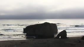 Olas oceánicas en la playa de California septentrional con la vista distante del abejón almacen de metraje de vídeo