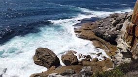 Olas oceánicas pacíficas potentes que se estrellan en las rocas, Sydney, Australia almacen de video