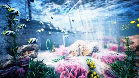 Olas oceánicas subacuáticas ondulación y barco pirata almacen de metraje de vídeo