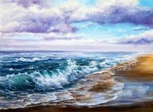 Olas oceánicas y cielo Imagen de archivo
