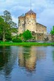 Olavinlinna城堡,在萨翁林纳 免版税库存图片