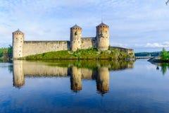Olavinlinna城堡,在萨翁林纳 库存图片