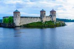 Olavinlinna城堡,在萨翁林纳 免版税图库摄影