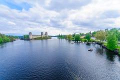 Olavinlinna城堡,在萨翁林纳 库存照片