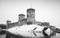Olavinlinna城堡,黑白照片 图库摄影