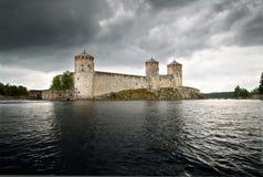 Olavinlinna castle stock photo