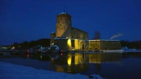 Olavinlinna castle, the March night. Savonlinna, Finland. Olavinlinna castle, the March night. Savonlinna. Finland stock video footage