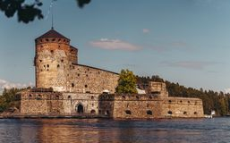 Olavinlinna castle in Savonlinna Finland on a sunny day royalty free stock images