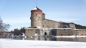 Olavinlinna fortress close-up. Sunny March day. Savonlinna, Finland. Olavinlinna fortress close - up. Sunny March day. Savonlinna, Finland stock video footage