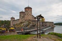 Olavinlinna medeltida slottinFinland Fotografering för Bildbyråer