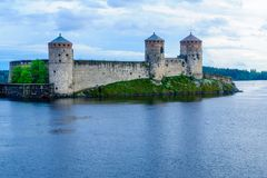 Olavinlinna slott, i Savonlinna Royaltyfri Fotografi