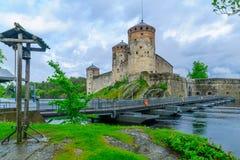 Olavinlinna slott, i Savonlinna Royaltyfria Foton