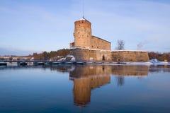 Olavinlinnavesting, het gelijk maken van Maart Savonlinna, Finland Stock Afbeelding